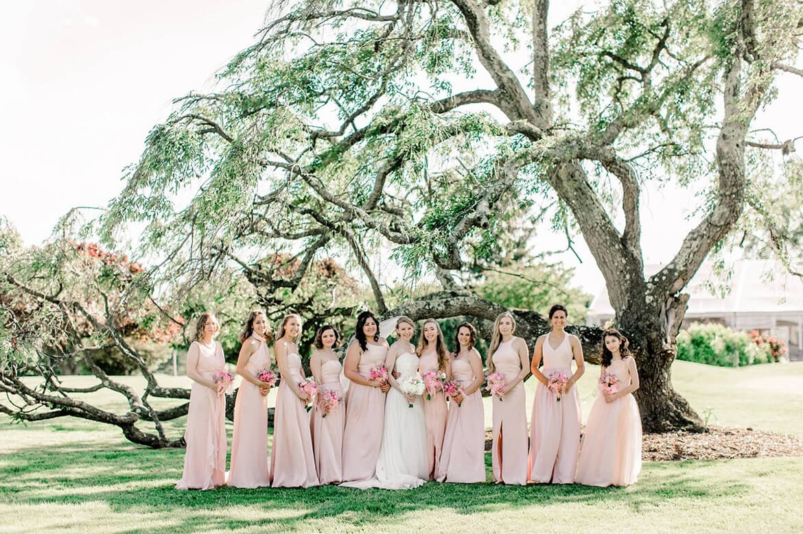 Bride and Bridesmaids with Tree